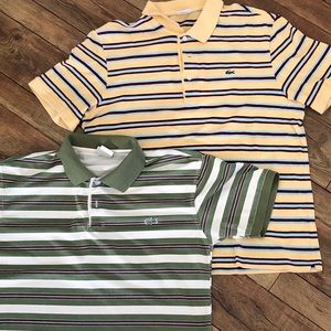 Two LaCoste boy's striped polo shirts. Size 5.